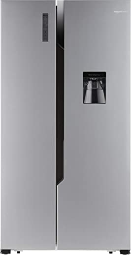 AmazonBasics 564 L Side-by-Side Door Refrigerator (Silver Steel Finish)