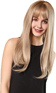 24Inch Charming Wig Light Gold Long Wigs for Women Middle Parting Natural Straight Heat Resistant Synthetic Wigs for White Women with Bangs