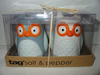 3-d Figural Owl Salt and Pepper Shakers Set Hand Painted By TAG