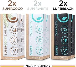 happybrush Kokosnuss Aktivkohle Zahnpasta für Zahnaufhellung | Zahn Bleaching Set aus Whitening Zahnpasta SuperCoco, SuperWhite, SuperBlack 6 St 75 ml