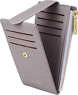 CYANB RFID Card Holder Wallet for Women Slim Bifold Zipper Card Cases Money Organizers Grey