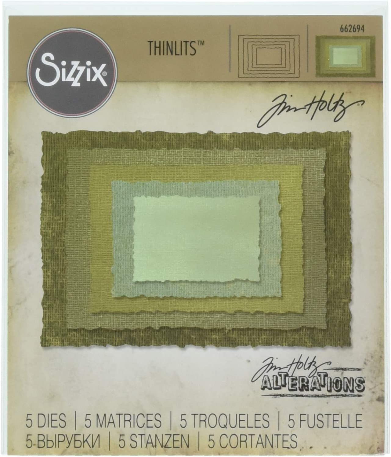 Sizzix Multi Color Thinlits Die Set by Tim Stacked Cheap super special price Deckle Genuine Ho