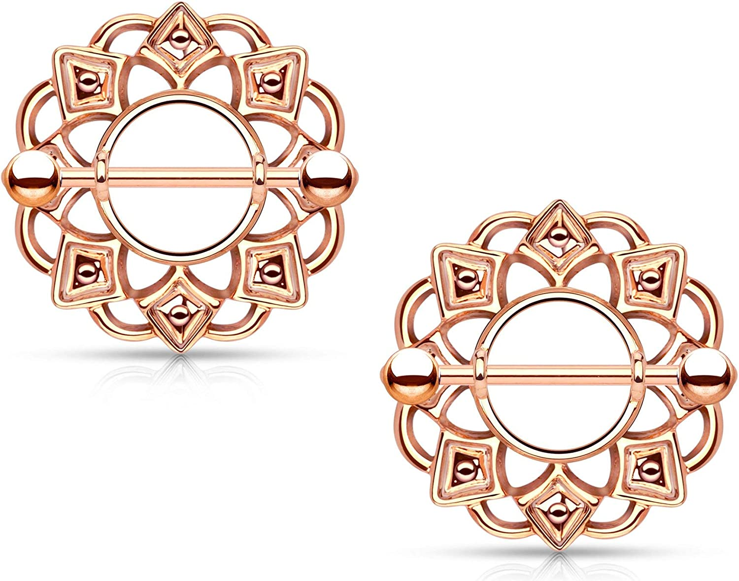 Forbidden Body Jewelry Pair of Surgical Steel Tribal Sun Nipple Ring Shields, 5/8 Inch Barbells