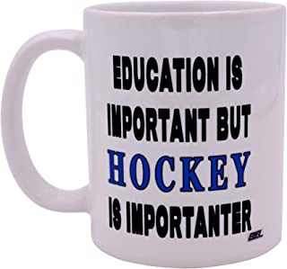 Funny Sarcastic Coffee Mug Education is Important But Hockey Is Importanter Novelty Cup Great Gift Idea For Hockey Player