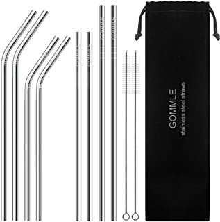 "Stainless Steel Straws FDA Approval, GOMMLE Reusable Metal Drinking Straws, 10.5"" / 8.5"" Length 0.24"" Diameter, for Smooth..."