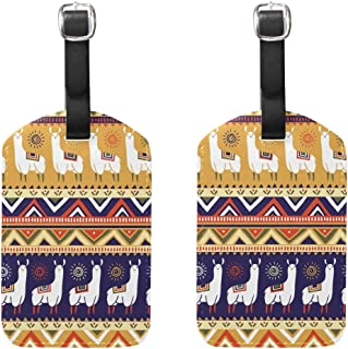 MASSIKOA Llamas and Geometrical Cruise Luggage Tags Suitcase Labels Bag,2 Pack
