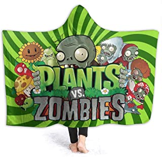 VIMMUCIR1 Hooded Blanket Cape Wrap Plants Vs Zombies Soft Wearable Throw Blanket Hooded Throw Poncho 50