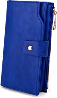 UTO Women's RFID Blocking PU Leather Long Wallet Clutch 21 Card Slots Holder Organizer Ladies Purse with Wristband Large Capacity Inner Pocket Fits 5.5'' Cellphones Blue