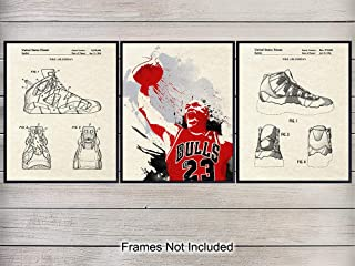 Michael Jordan Nike Air Basketball Shoes Patent Wall Art Prints Set - Home Decor for Game Room, Teens, Boys or Kids Bedroom, Man Cave, Gym - Gift for Hoops and Chicago Bulls Fans, 8x10 Unframed Poster
