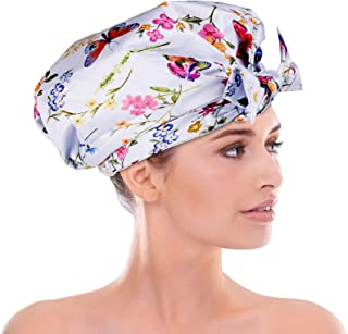 Shower Cap for Women,Waterproof Reusable Luxury Shower Cap for Long hair Shower Cap Cute Home Bathroom Headgear (butterfly)