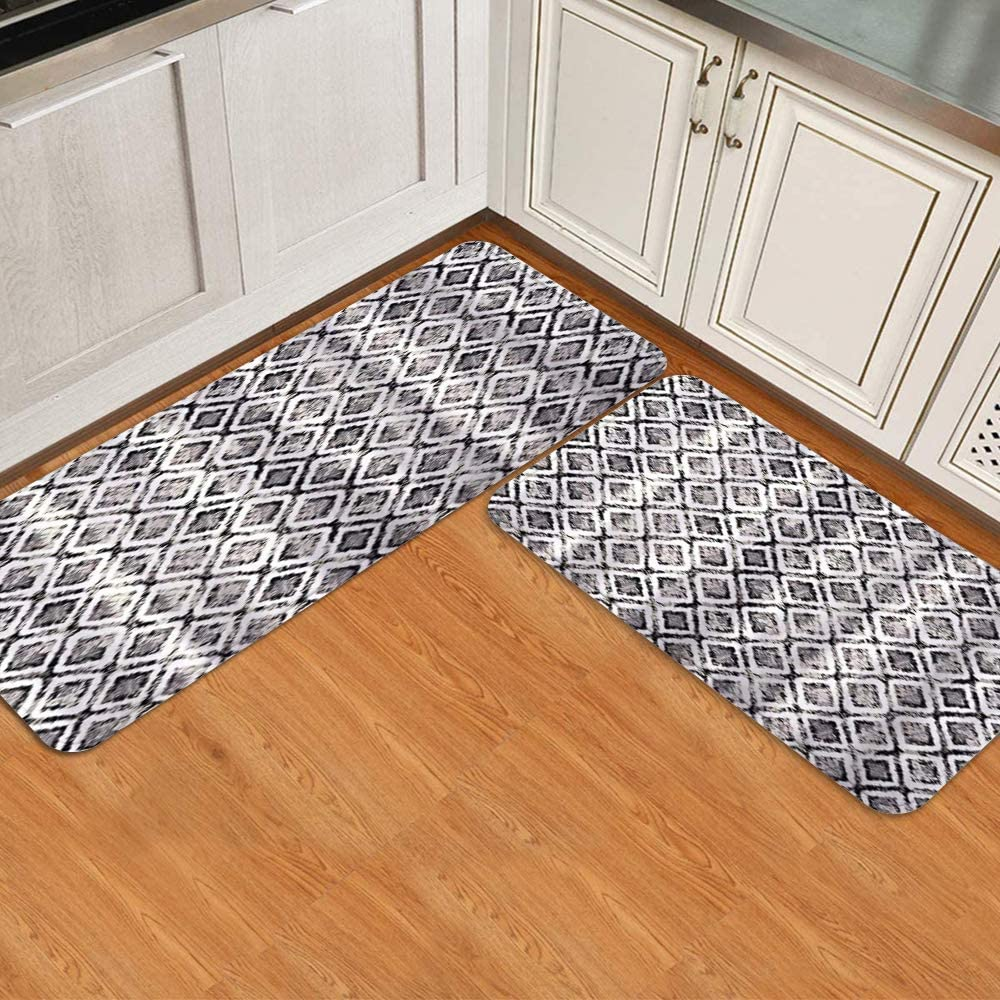 COVASA Kitchen Deluxe Rugs and Mats 2 Pattern Pieces Lattice Finally resale start Diamond Re