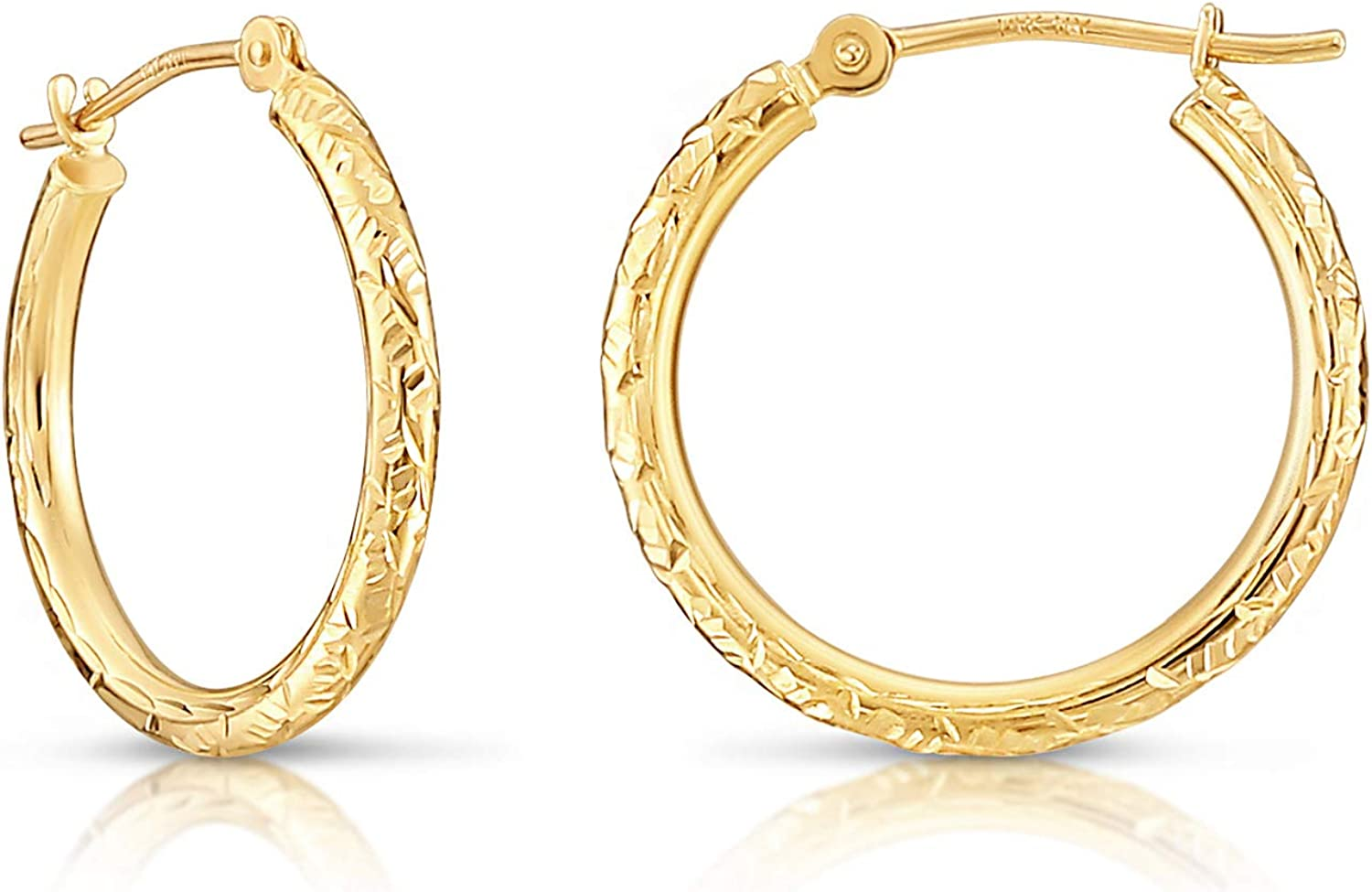 14k Yellow Gold Hand 67% Credence OFF of fixed price Engraved Hoop Diamond-cut Earrings Round