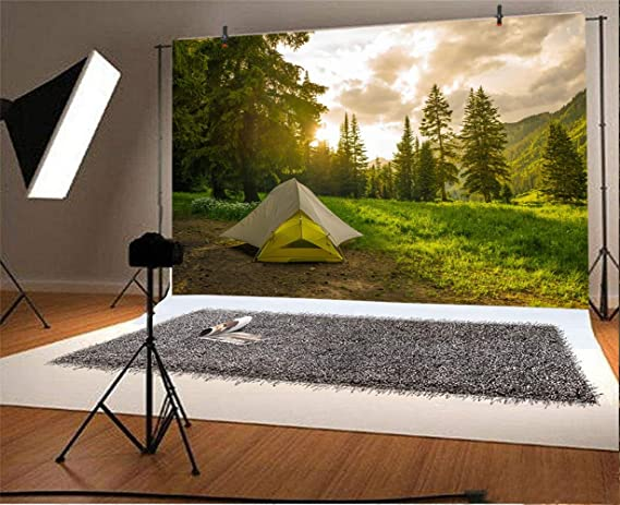 Laeacco 10x7ft Camping Tent Background for Photography Rainforest Scenery Sunlight Forest Hiking Outdoor Travel Spring Outing Family Trip Backdrop Photo Booth Studio Props Vinyl