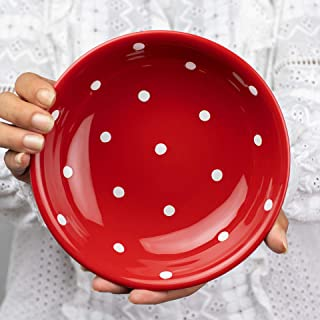 City to Cottage Handmade Red and White Pottery Polka Dot Glazed 7.3inch/18.5cm, 14oz/400ml Salad, Pasta, Fruit, Cereal, Soup Bowl | Unique Ceramic Dinnerware, Housewarming Gift