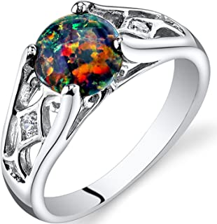 Created Black Opal Ring in Sterling Silver, Venetian Vintage Design, Round Shape, 7mm, 1 Carat, Sizes 5 to 9