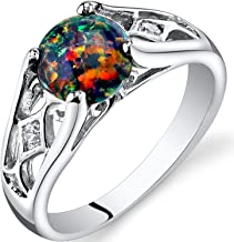 Peora Created Black Opal Ring in Sterling Silver, Venetian Vintage Design, Round Shape, 7mm, 1 Carat, Sizes 5 to 9