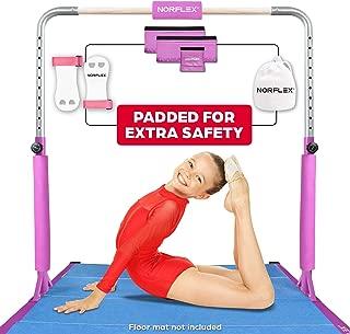 NORFLEX Adjustable Gymnastics Bar for Kids Gym Bar Set - Gymnastics Home Gym for Fitness Exercise   Expandable Heavy Duty Athletic Bar Gym Equipment   Set Includes Bar, Pads, Chalk Ball, Hand Wraps