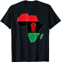 Africa Pride Big Pan African Flag Power Raised Fist T-Shirt