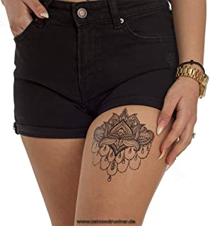 1 x Lotus Tattoo Mandala Blume schwarz fake Tattoo wasserdic