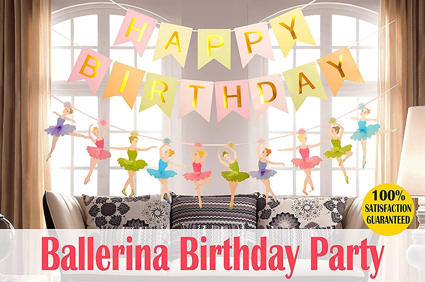 MEANT2TOBE Ballet Dancer Party Supplies Baby Girl Favor - Happy Birthday Banner-Ballet Girls Dancer Banner Garland for Birthday Party Favors Decor (Ballerina Birthday Party Decoration)