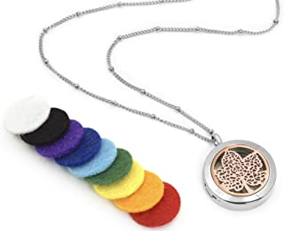 Leaf of Serenity Essential Oil Diffuser Necklace - Aromatherapy Jewelry - Hypoallergenic 316L Surgical Grade Stainless Steel, 20.8
