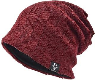 [Ruphedy] ニット帽 メンズ ゆったり オールシーズン ロングサイズのワッチキャップ 柔らかい チェック ラインリング R-B5021