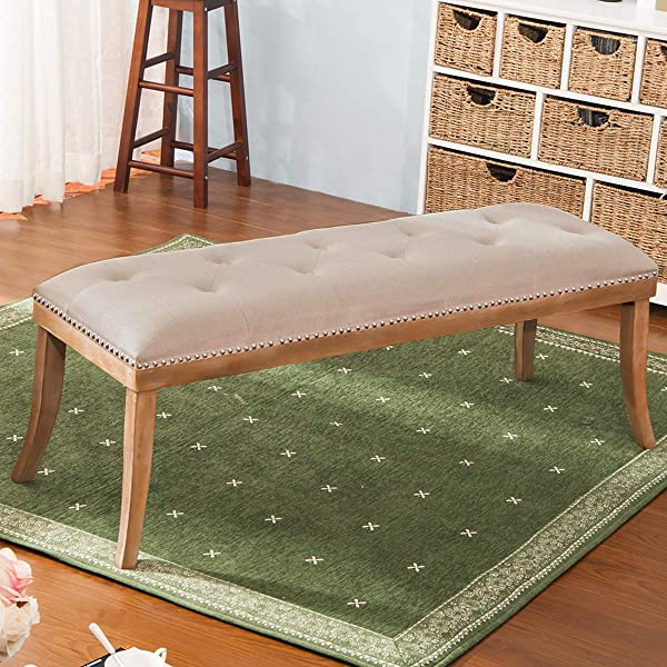 HARPER BRIGHT DESIGNS Upholstered Button Tufted Bench With Solid Wood Legs And Nailhead Trim Fabric Beige