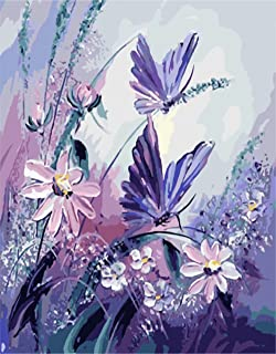 Tonzom Paint By Number Kits 16 x 20 inch Canvas Diy Oil Painting for Kids, Students, Adults Beginner with Brushes and Acrylic Pigment - Happy Butterfly Couple (Without Frame)