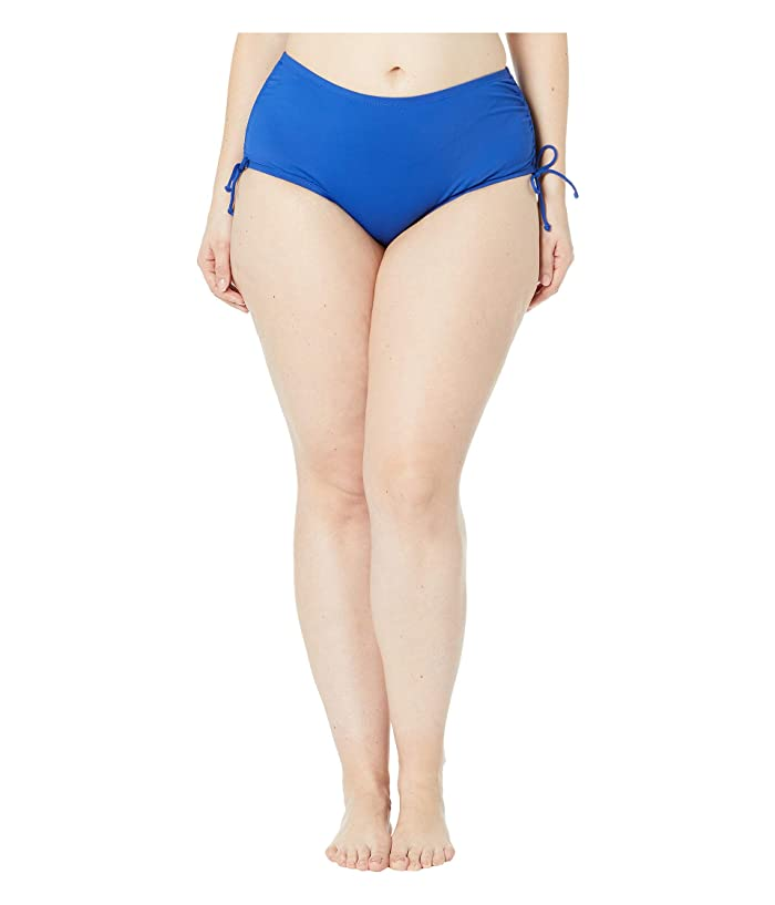24th & Ocean Plus Size Solids Mid Waist Adjustable Tie Side Pant Bottoms (Cobalt) Women