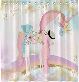 Allenjoy 72x72 Inch Watercolor Unicorn Shower Curtain for Bathroom Sets Pink Gold Glitter Rainbow Sky Home Bathtub Decors Decoration Durable Waterproof Fabric Machine Washable Curtains with 12 Hooks