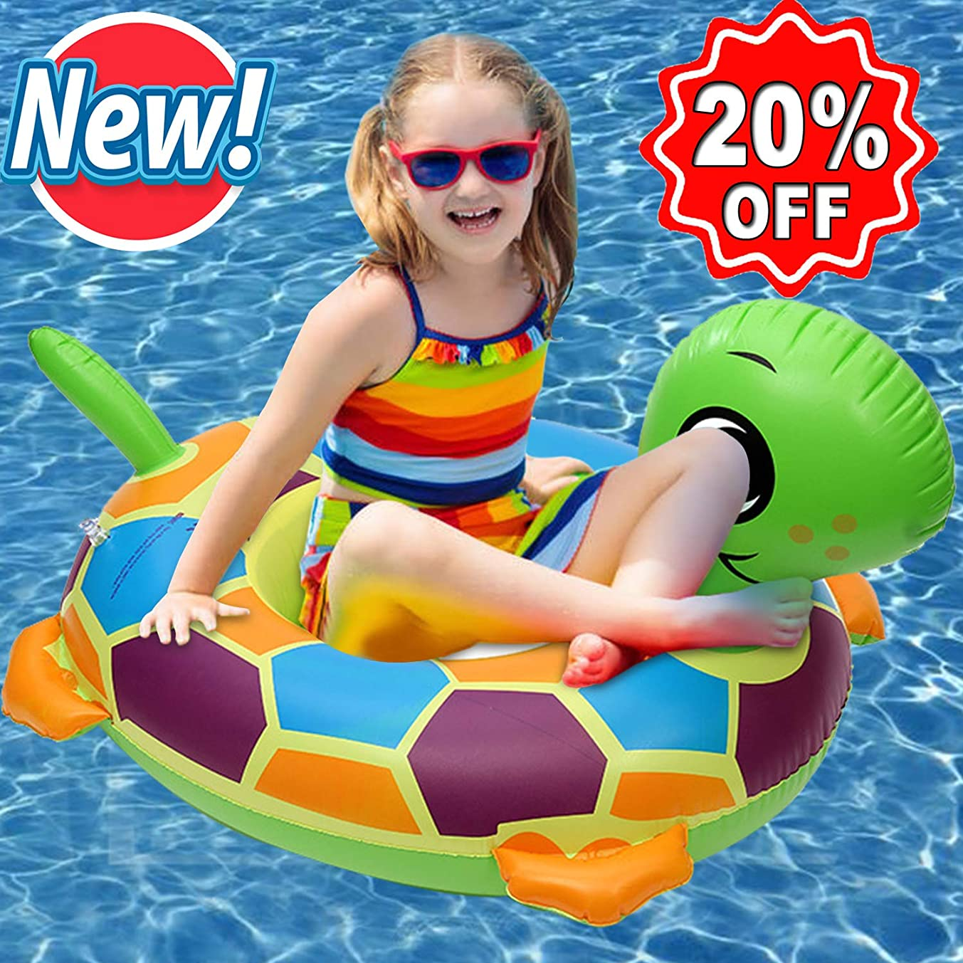 Roksy Inc Baby Swimming Float Tortoise Inflatable Swim Floats Boat Ride-On Ring for Baby Infant Toddlers Kids Age 6 -18 Months Comfortable Lounger Pool Toys for Summer Water Party (Tortoise)