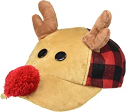 Plush Reindeer Buffalo Check Christmas Baseball Cap (Toddler)