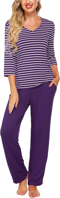 Ekouaer Pajamas Set, Women's Striped 3/4 Sleeve Sleepwear Nightwear with Long Pants