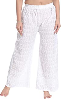 Fablab Women's Cotton Chikankari Palazzo Pant with Full Embroidery Art Work (Free Size-Waist-28 Inch to 34 Inch) Pack of 1.