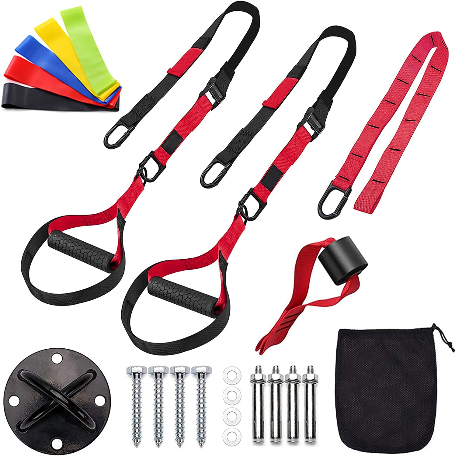 Sfeexun Bodyweight Resistance Training Straps, Suspension Training System, Full Body Workouts Trainer Kit for Home Travel Outdoors, Included Door Anchor Wall Anchor 5 Exercise Bands