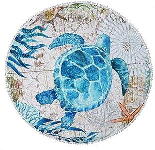 def2c16acb6b5 Sonnena Serviette Plage Ronde Mandala Épaisse Tapisserie Coton avec Frange  Ultra-épais Mat Yoga Hippie