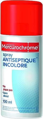 MERCUROCHROME - Spray Antiseptique Incolore - Ne pique pas - Sans alcool - Dès 3 ans - 100 ml