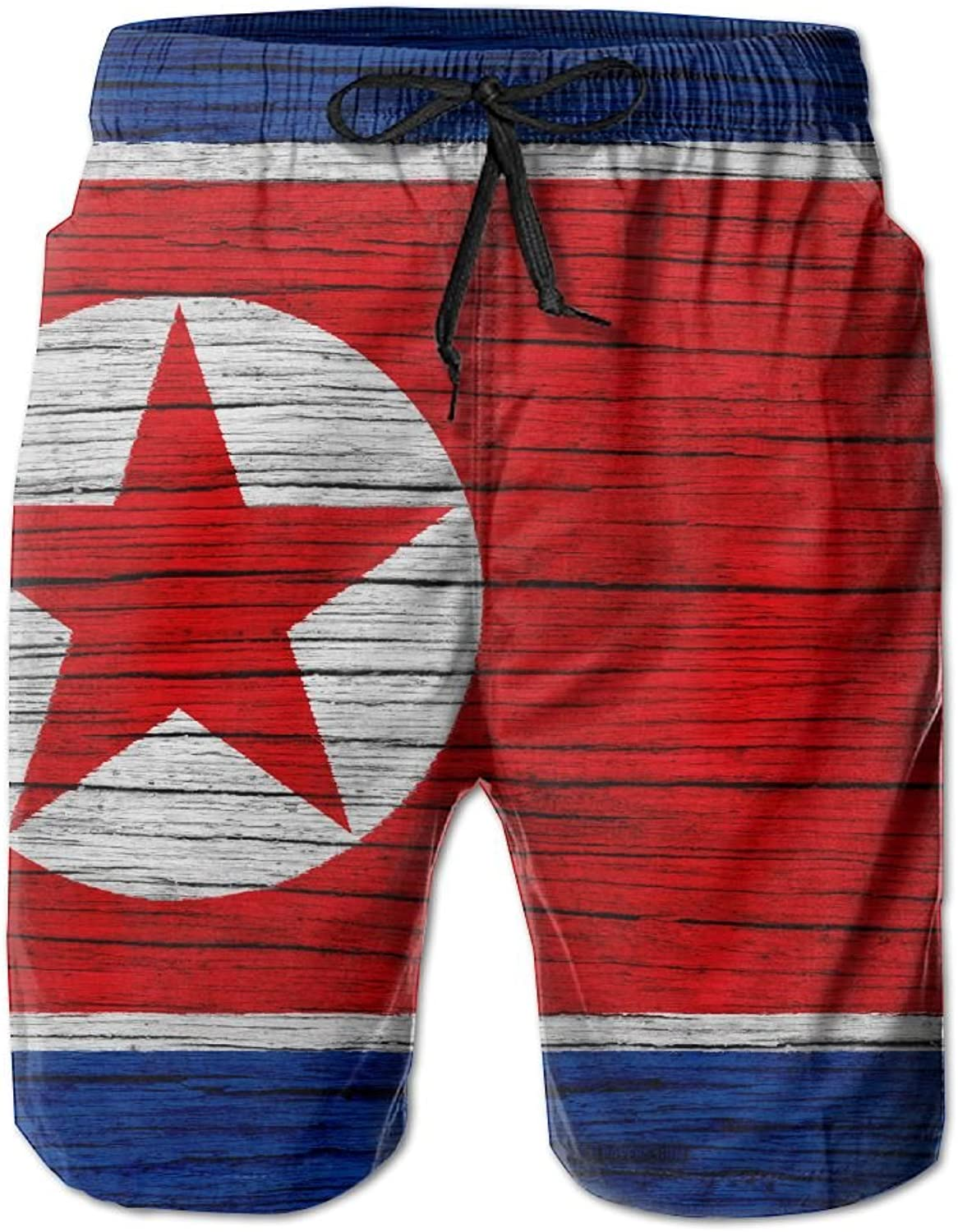 HFSST North Korea Wooden Texture Dprk FlagHandsome Fashion Summer Cool Shorts Swimming Trunks Beachwear Beach Shorts