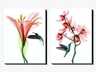 Decodrama Set of 2, The Red Flower and Humming Bird Wall Painting/Wall Art for Living Room, Bedroom, Office, Gift Item Fra...