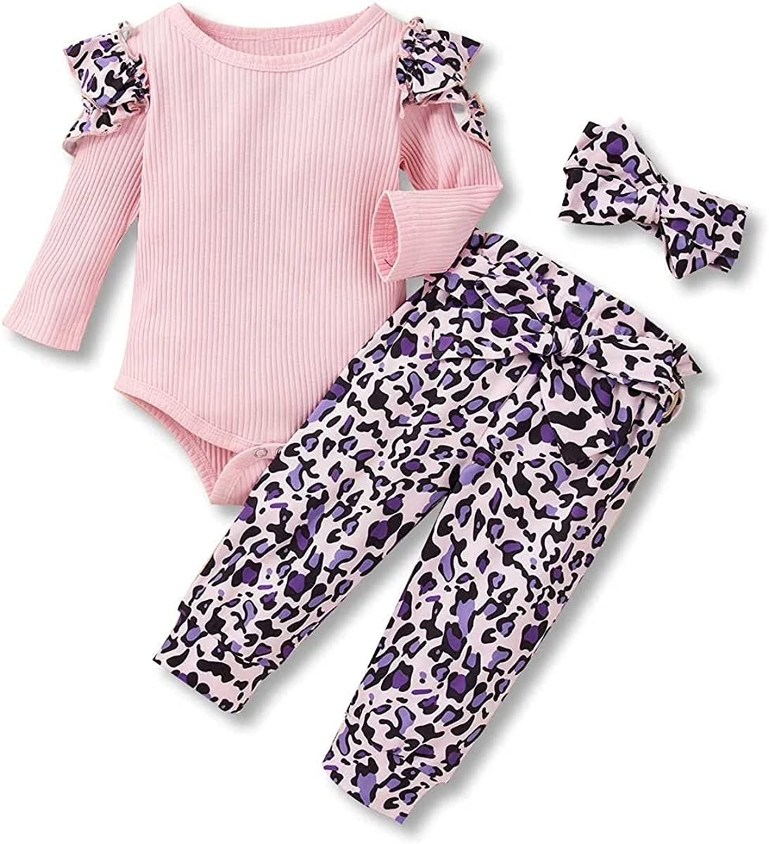 Infant Baby Girl Clothes Long Sleeve Ribbed Romper Outfits Newborn Girl Clothes Cute Floral Pants 3Pcs Set