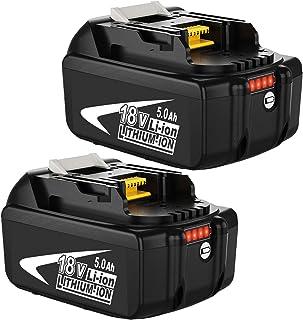 Venghts 2 Piezas 18V 5000mAh batería de Repuesto para Makita 18V BL1850B BL1860 BL1850 BL1840 BL1830 BL1820 BL1020B BL1815...