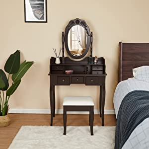 Vabches Vanity Table Set, Dresser with Mirror Stool 5 Light Drawers, Makeup Vanity Set Vintage Dressing Table for Bedroom Brown