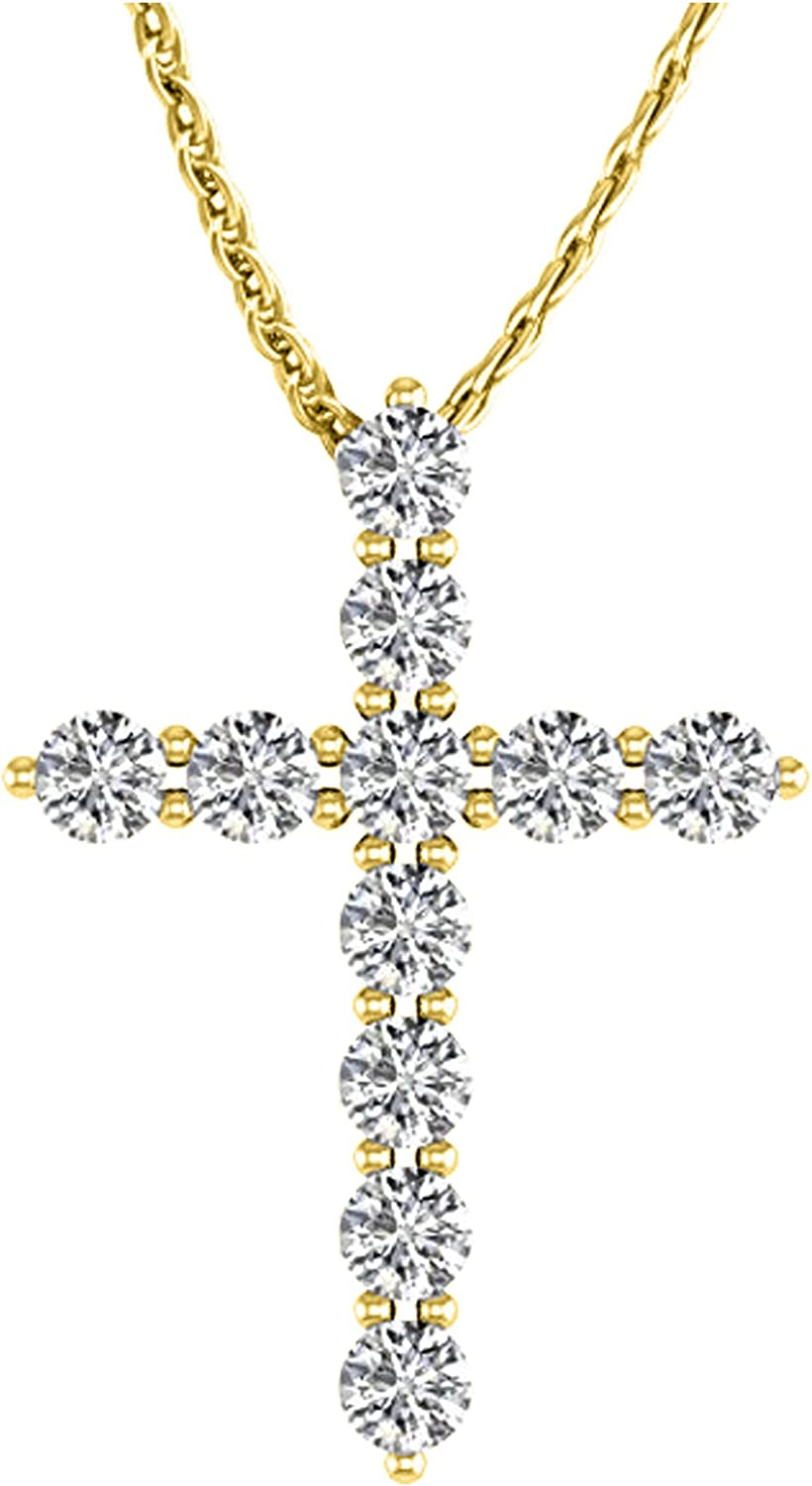1 2 Carat New sales Total Weight 14K Cross Max 71% OFF Diamond Premium Gold White Coll