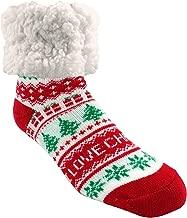 Pudus Holiday Slipper Socks for Women & Men, Christmas Socks w Non-Slip Grippers Faux Fur Sherpa