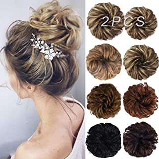 Messy Bun Hair Piece, 2PCS Tousled Updo Hair Extensions Hair Bun Curly Wavy Ponytail Hairpieces Hair Scrunchies with Elast...