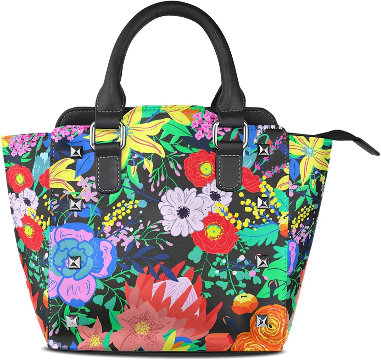 My Little Nest Women's Top Handle Satchel Handbag Spring Vibrant Flowers Ladies PU Leather Shoulder Bag Crossbody Bag