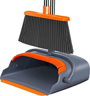 Kelamayi 2021 Upgrade Broom and Dustpan Set, Large Size and Stiff Broom Dust pan with..