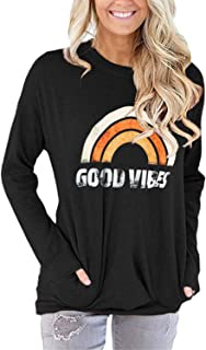 TECREW Women's Good Vibes Rainbow Print Long Sleeve Sweatshirt Tunic Tops Pockets