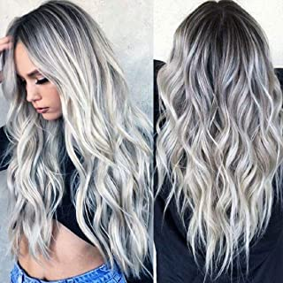 Wigood 28 Inch Ombre Silver Wig Gray Long Curly Hair with Air Bangs with Free Wig Cap Cosplay Halloween Wig for Women…