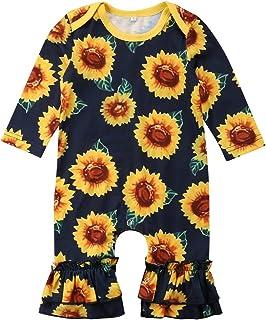 6fa8d3e5c Mubineo Infant Baby Girl Sunflower Long Sleeve One Piece Bell Bottom Romper  Bodysuit